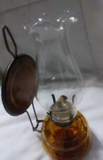 """Vintage 8"""" Tall Made In Japan Amber Glass Brass Metal Wall Hanger Oil Lamp"""