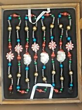 Thomas Pacconi Blown Glass Garlands (Brand New In Wooden Crate) Santa Snowmen