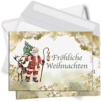 15 Weihnachtskarten mit Umschlag Set Grußkarten Weihnachten Weihnachtsmann
