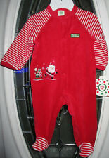 Little Me My First Christmas Velour Pajamas Sleeper Footed Santa 9m. Nwt