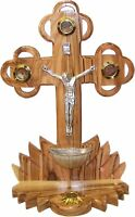 Table Olive Wood Cross/Crucifix with Holy Water Font - with Samples from The