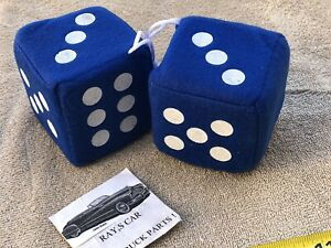 NEW PAIR OF BLUE FUZZY DICE ! ! CAR / TRUCK / BIKE !