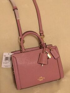 NEW Coach Micro Zoe Pink Sachel Crossbody Shoulder Leather Bag