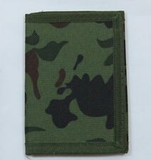 Mens Camo Camouflage Tri-Fold Wallet Billfold Hunt Green Brown Green Trim D