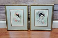 (2) Framed VTG Antique c. 1901 Victorian era Watercolor Paintings Woman Fashion