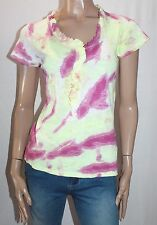 Crazy Rainbows Designer Cotton Short Sleeve Top Size S Revamped With Healing
