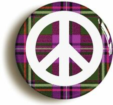 SCOTTISH TARTAN CND PEACE BADGE BUTTON PIN (Size is 1inch/25mm diameter)