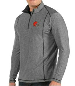 Cleveland Browns Antigua Tempo Half-Zip Pullover Jacket. Smoky Heather sz M NWT