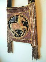 Vintage Kalaga Shoulder Bag with Horses on Both Sides, Thai Burmese Myanmar