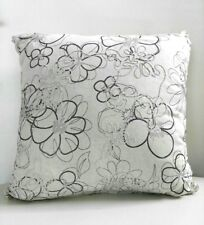 Decorative Cushion Cover Natural Colour Floral Print Embroidered 45x45cm