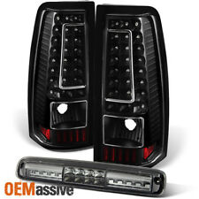 Fit 1999-2002 Chevy Silverado GMC Sierra Black LED Tail Lights+3rd Brake Light