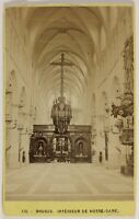 Bruge Interno Da Notre-Dame Belgium Foto CDV Vintage Albumina