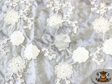 "Organza Floral Hand Beaded Cording Fabric 02 WHITE / 50"" Wide / Sold by the yard"