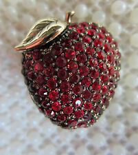 VINTAGE MONET RED CRYSTAL GOLD TONE APPLE BERRY FRUIT SCATTER PIN BROOCH TEACHER