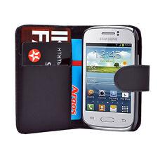 Schwarz Wallet Leder Case Handy Cover Samsung Galaxy Young GT S-S6310L GT S6310N