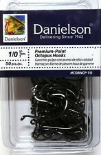 100 Danielson HCOBNCP Black Chrome Octopus Fish Fishing Hooks size 1/0