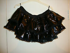 Black PVC Tiered TuTu with Lace Trim, By Ann Summers, Size Small BNWT