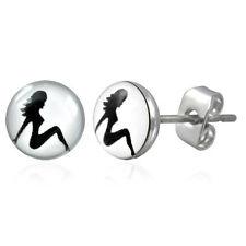 Pride Shack - Hot Girl - Lesbian Pride Stud Earrings (White Circle & Black Girl)
