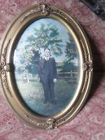 Antique Convex Glass Gilt Wood Frame Gold Handsome man 24 x 18 Art Nouveau