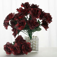 84 Black and Red SILK OPEN ROSES Wedding Flowers Bouquets for Centerpieces