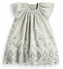 Next Girls 9-12 Months Grey Broderie Cotton Lace Tunic Dress £