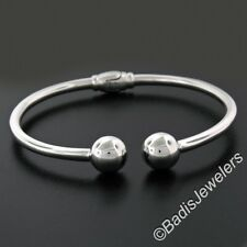 14K White Gold Open Hinged Cuff Tube Bracelet w/ Therapeutic Magnets Bead Ends