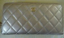CHANEL CHAMPAGNE GOLD LONG QUILTED LEATHER ZIP WALLET