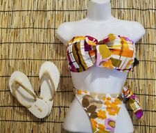 Beach Joy Women's 2 Piece sz Medium Bikini & sz 5 Gold Glittery Flip Flops NWT
