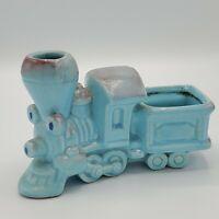 Vintage Allen Shaw Ceramic Blue Train Planter Nursery Container