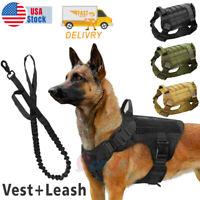 Tactical Police K9 Training Dog Harness Military Adjustable Nylon Vest+Leash
