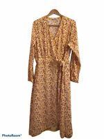 Time & Tru Yellow Purple Floral Long Sleeve Wrap Dress Full Length XL Prairie