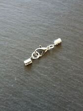6 Sets Silver Plated Crimp Ends for 2mm - 2.5mm Cord with 12mm Lobster Clasps UK
