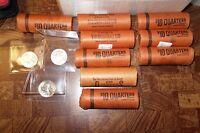 (9) 1960-D Washington Quarters $10 BU Bank Wrapped Rolls (360) Coins Total!!