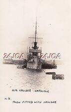 "Royal Navy Real Photo. HMS ""Carlisle"" Cruiser. With Hanger. 11 planes down. 1920"