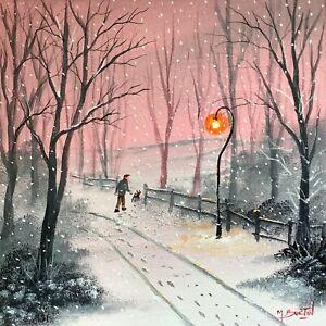 MAL.BURTON ORIGINAL OIL PAINTING.  MORE SNOW TODAY BOY NORTHERN ART DIRECT NEW