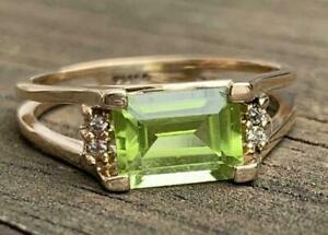 2Ct Emerald Cut Green Peridot Solitaire Engagement Ring 14K Rose Gold Finish