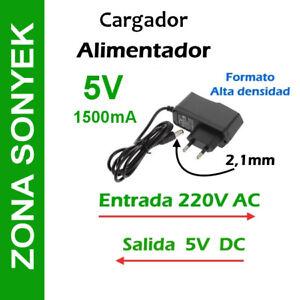 CARGADOR ALIMENTADOR 5V 1,5A (1500mA).  220V AC a 5V DC. Entrega 24/48h*