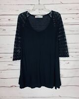 Free People Beach Women's S Small Black Lace Linen Blend Spring Tunic Top Blouse