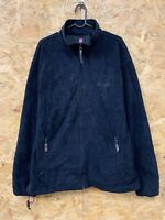 CHAPS Men's Vintage Fleece Jumper Full Zip Up Navy Blue Sweatshirt Large L