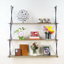 Rustic Floating 3-Tier Wall Mount Wood Hanging Book Shelves Display & Decor USA