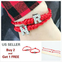 26 Initial Letters Red Braided Rope Silver Charm Bracelet Bangle Cuff Bridesmaid