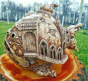 Ceramic Figurine Fish-House Art Decor Home Decoration Garden Statues Sculpture
