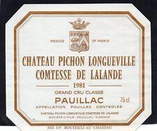 PAUILLAC 2E GCC ETIQUETTE CHATEAU PICHON LONGUEVILLE COMTESSE 1981  §04/07/18§