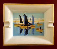 Hermes Paris Aschenbecher Cendrier Boote Segelboote Bateaux Voiliers Goldrand