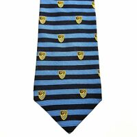 Brooks Brothers Makers Italian Silk Tie Lake Blue Woven Hobnail Gold Medallion