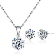 925 Silver Filled White Sapphire Gem Pendant Necklace+Earrings Jewelry Set Women