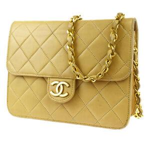 Auth CHANEL CC Logo Matelasse Mini Chain Shoulder Bag Leather Beige 605LB203