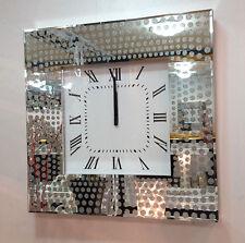 moderne pailleté pois verre réfléchissant Carré Horloge murale 50cm ARGENT