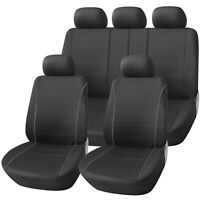 Sport Black with Grey Piping Deluxe Luxury Full Car Set Seat Cover Protectors