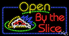 """NEW OPEN BY THE SLICE"""" PIZZA 32x17 SOLID/ANIMATED LED SIGN W/CUSTOM OPTION 25570"""